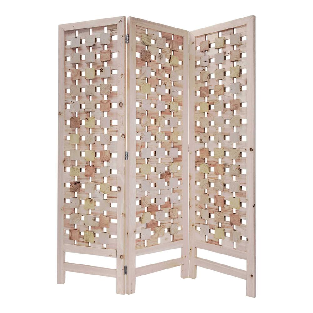 3 Panel Pink Room Divider with Cut Square Wood Design - 376799. Picture 5