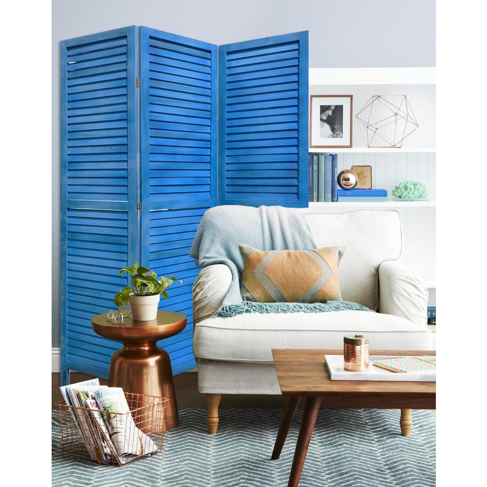 3 Panel Light Blue Shutter Screen Room Divider - 376802. Picture 4