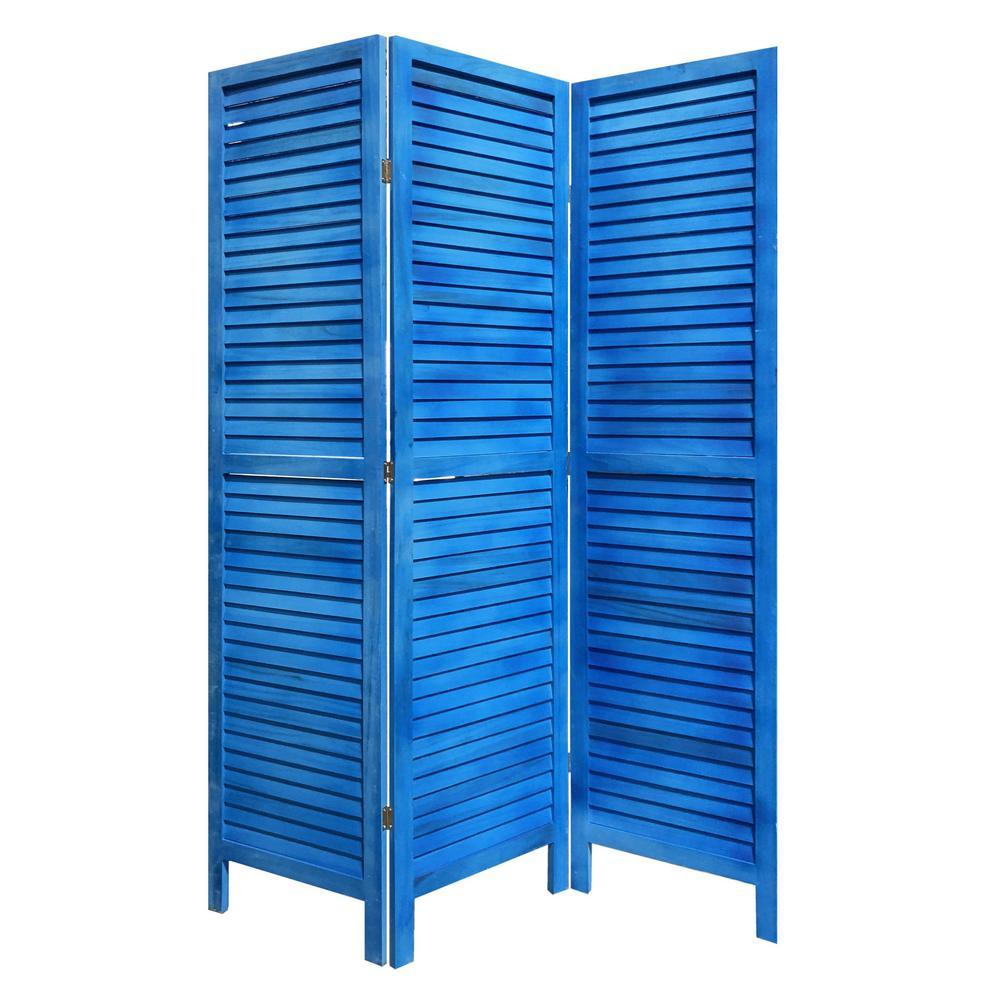 3 Panel Light Blue Shutter Screen Room Divider - 376802. Picture 5