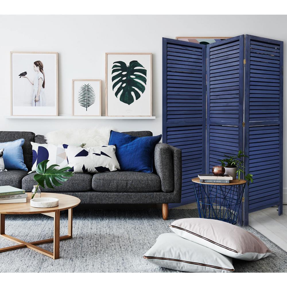 3 Panel Dark Blue Shutter Screen Room Divider - 376803. Picture 3