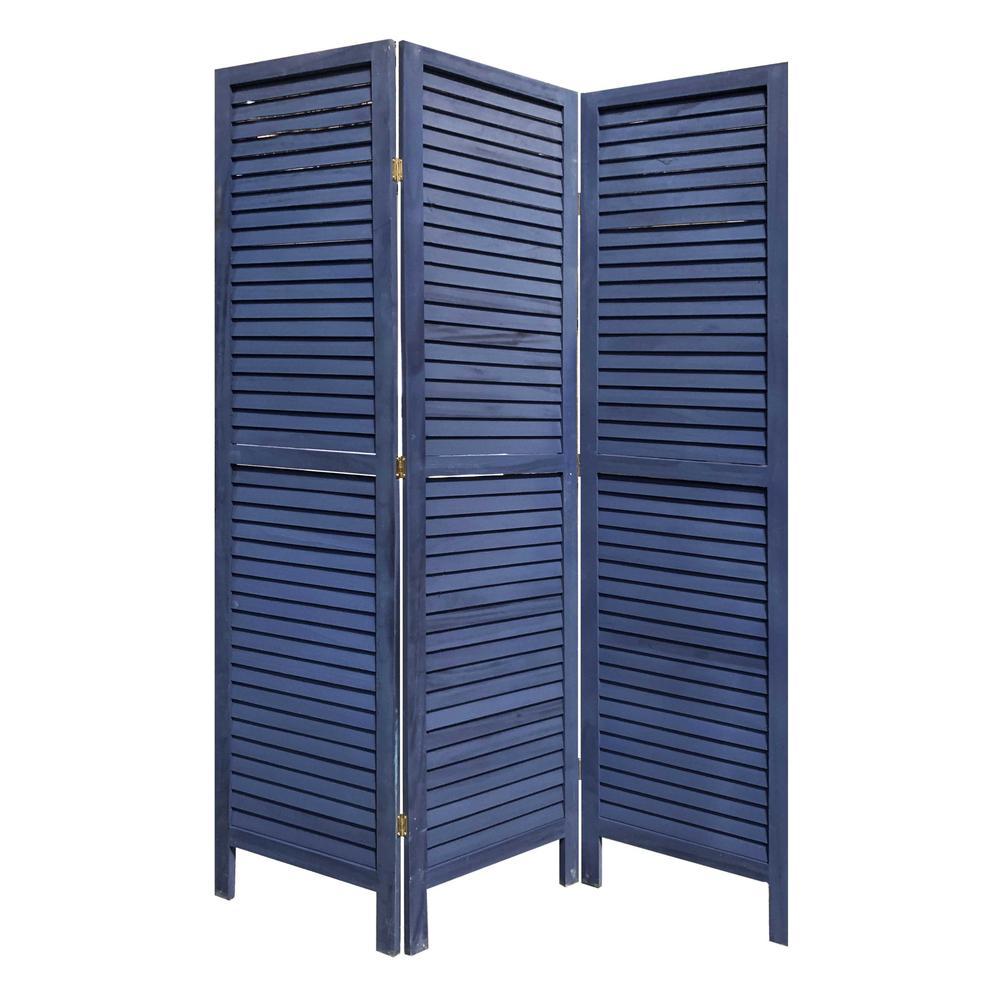 3 Panel Dark Blue Shutter Screen Room Divider - 376803. Picture 5