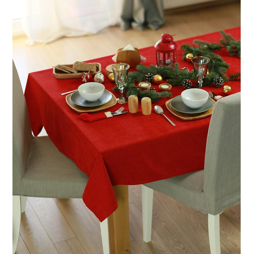 """70"""" Merry Christmas Rectangle Tablecloth in  Red - 376813. Picture 1"""