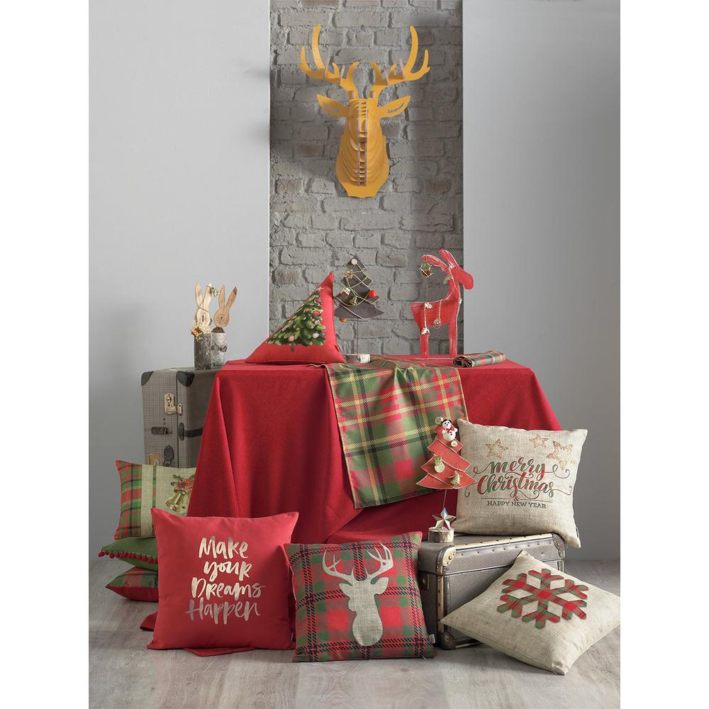 """70"""" Merry Christmas Rectangle Tablecloth in  Red - 376813. Picture 5"""
