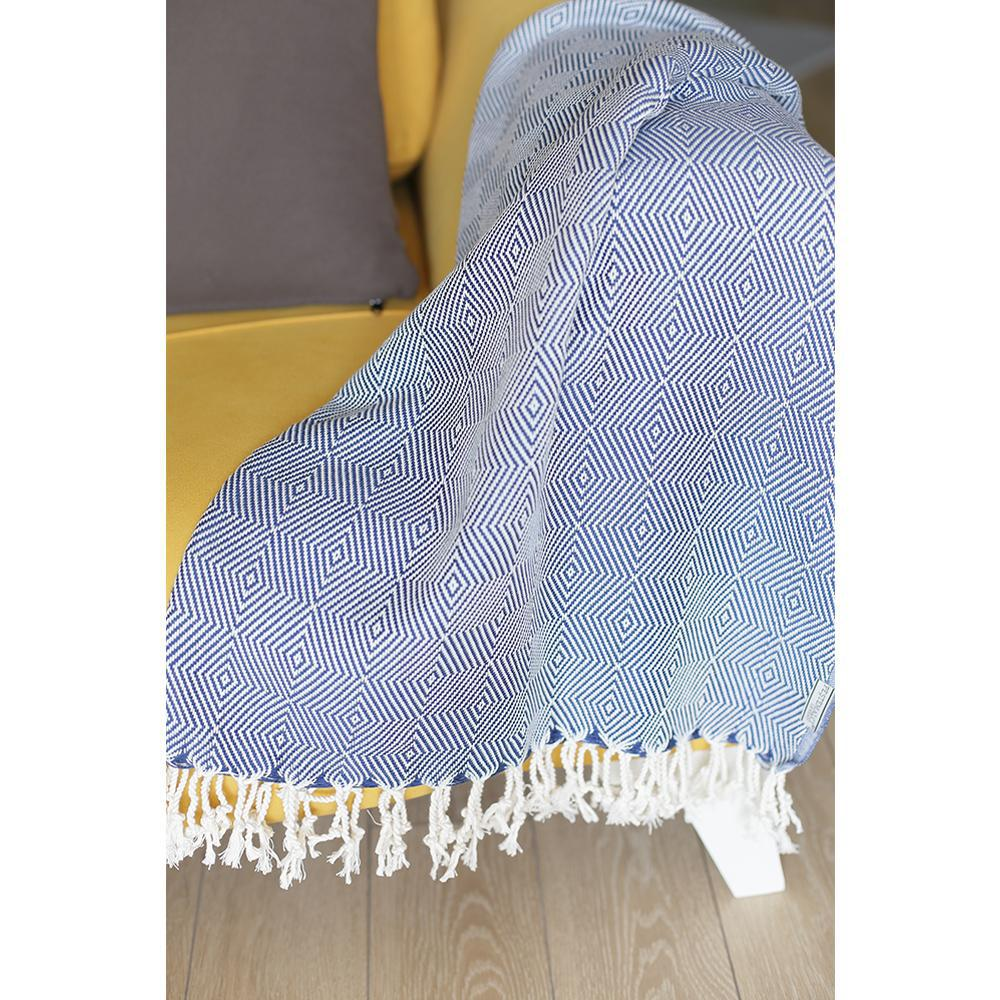 """70"""" Geometric Handwoven Throw Blankets in Blue - 376839. Picture 2"""