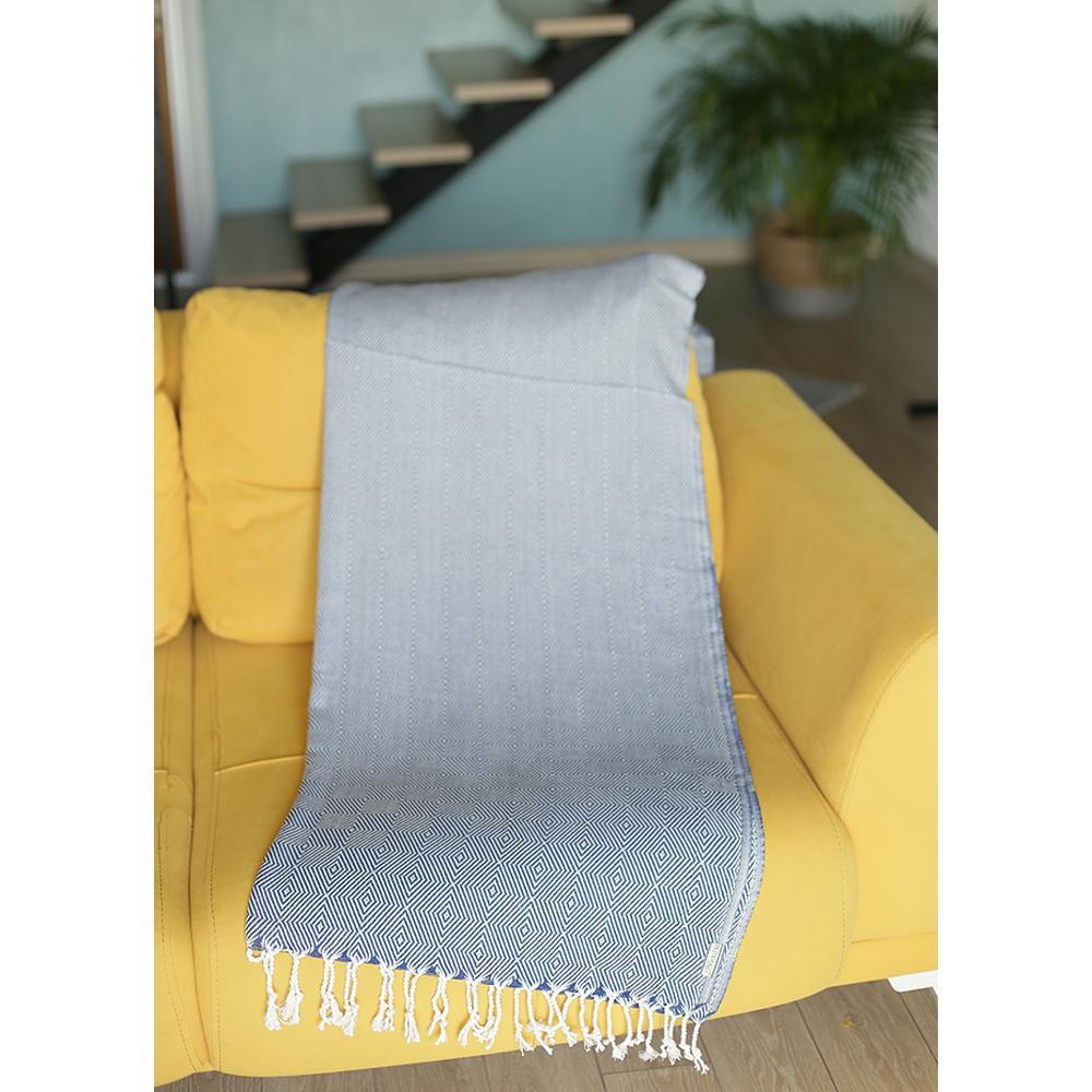 """70"""" Geometric Handwoven Throw Blankets in Blue - 376839. Picture 3"""