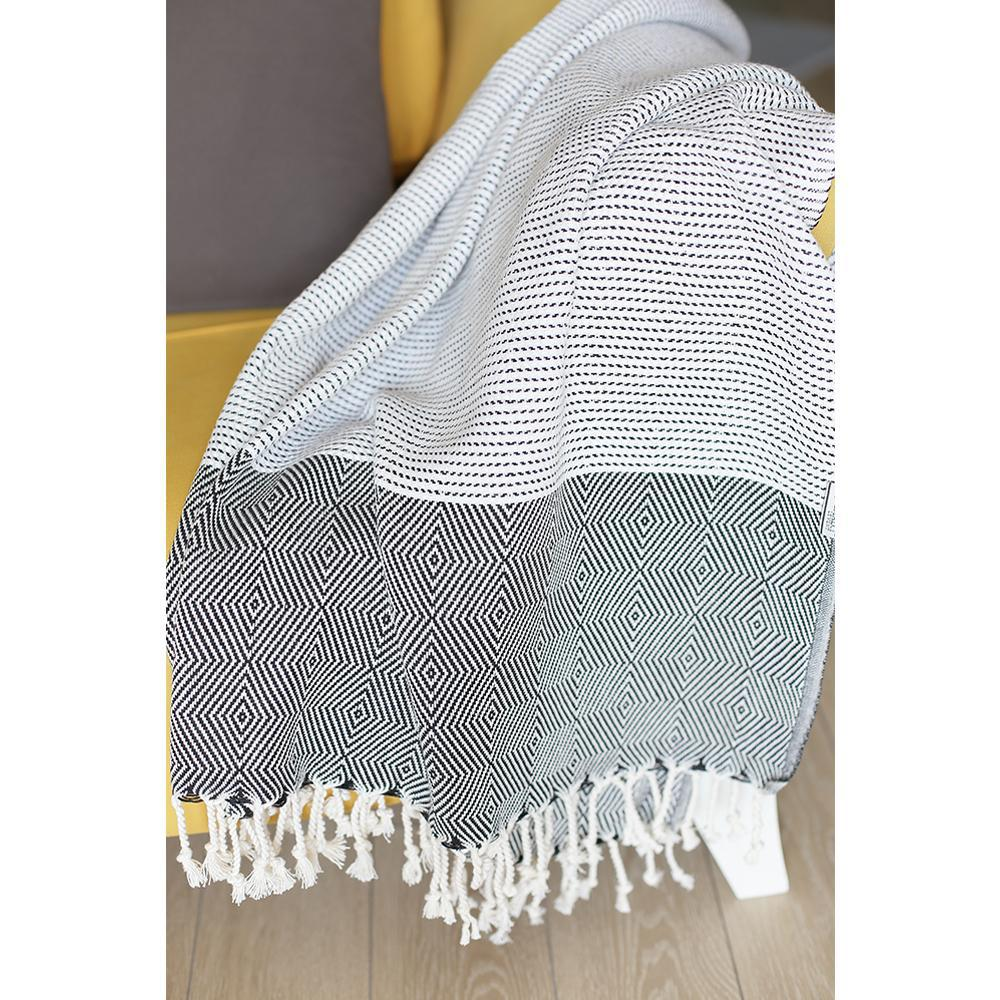 Black and White Squares and Stripes Turkish Towel or Throw Blanket - 376840. Picture 2