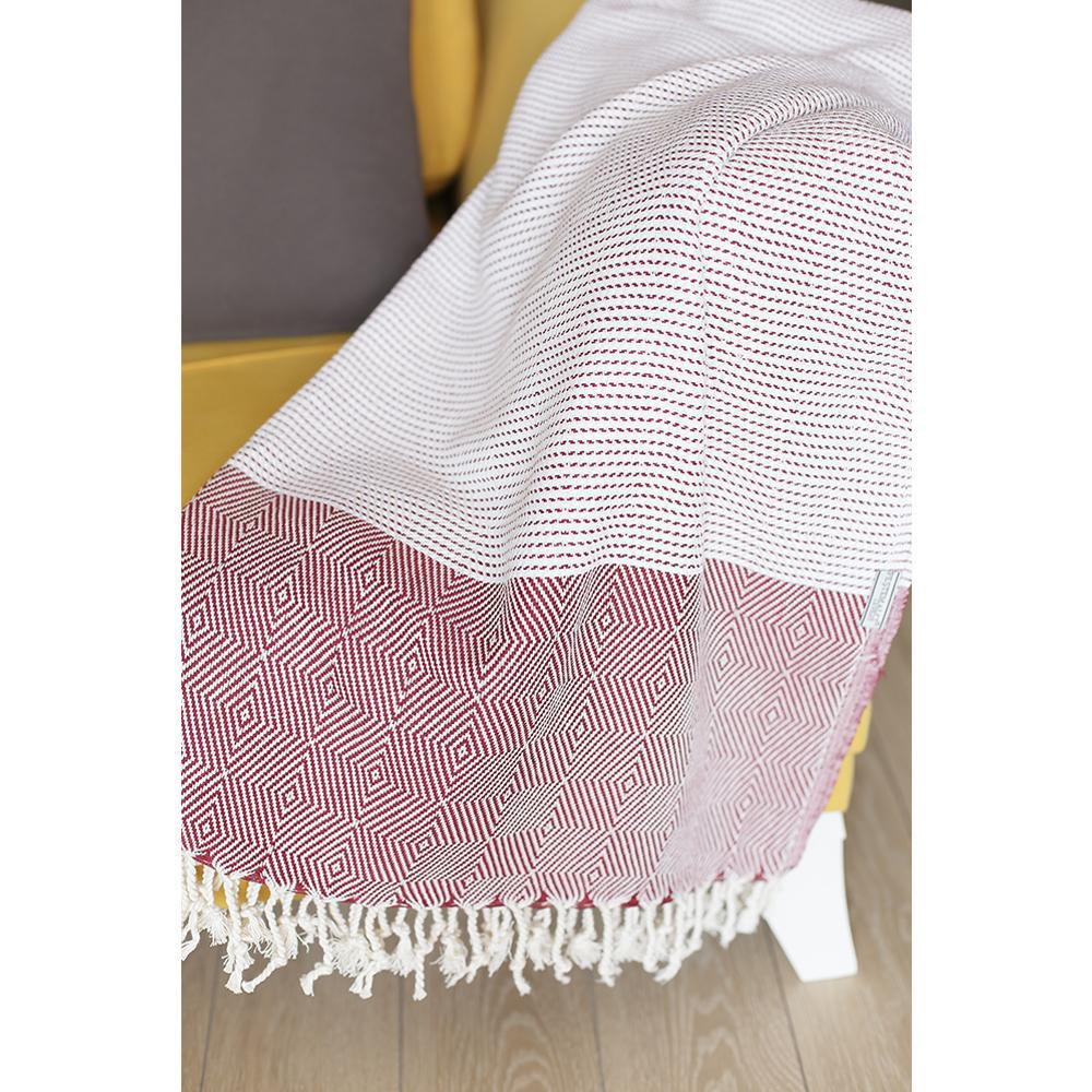 """70"""" Turkish Cotton Handwoven Throw Blankets in Red - 376841. Picture 2"""