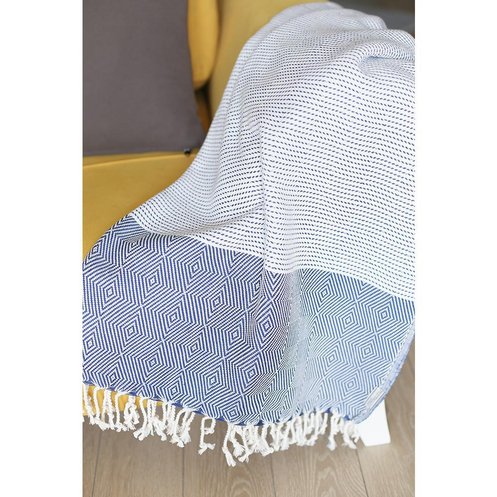 Blue and White Squares and Stripes Turkish Towel or Throw Blanket - 376842. Picture 2