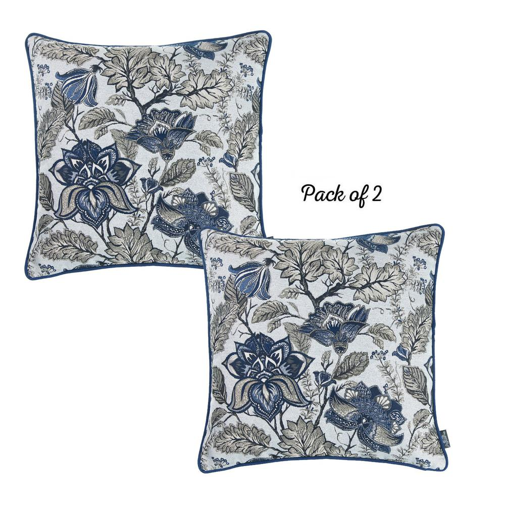 Set of 2 Square Blue and Beige Floral Throw Pillow Covers - 376844. Picture 2