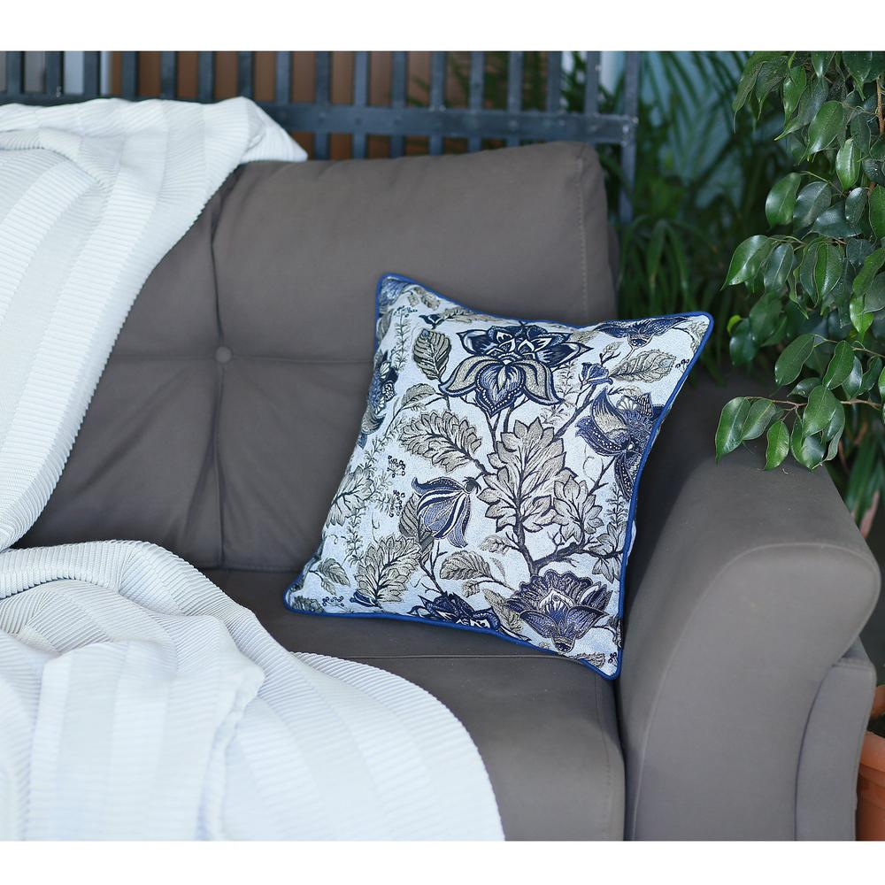 Set of 2 Square Blue and Beige Floral Throw Pillow Covers - 376844. Picture 3