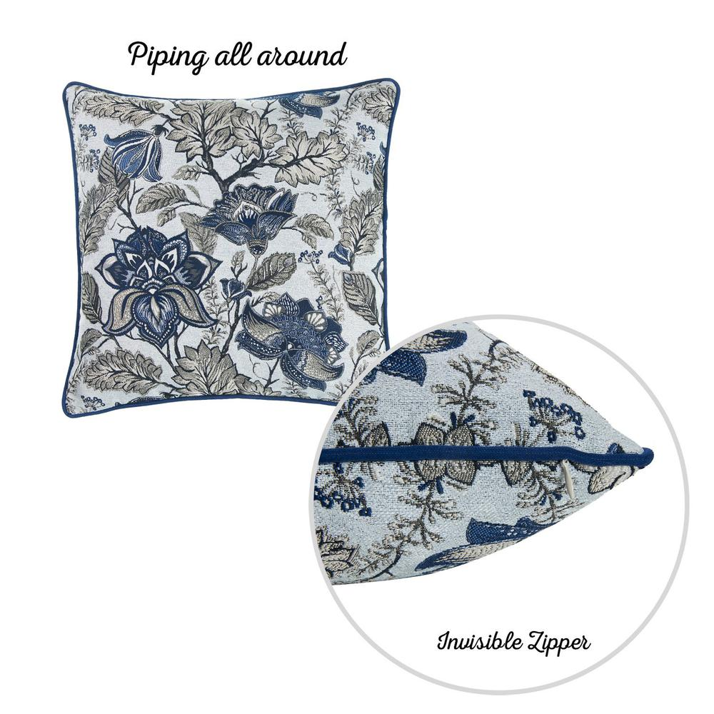Set of 2 Square Blue and Beige Floral Throw Pillow Covers - 376844. Picture 4