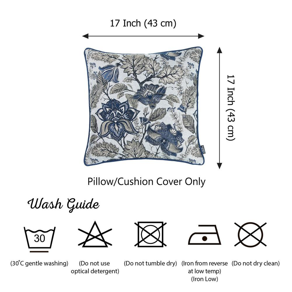 Set of 2 Square Blue and Beige Floral Throw Pillow Covers - 376844. Picture 5