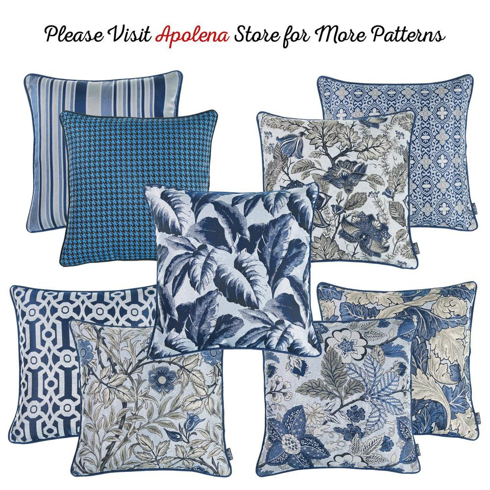 Set of 2 Square Blue and Beige Floral Throw Pillow Covers - 376844. Picture 6