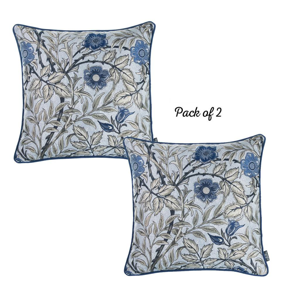 Set of 2 Square Beige Floral Throw Pillow Covers - 376846. Picture 1