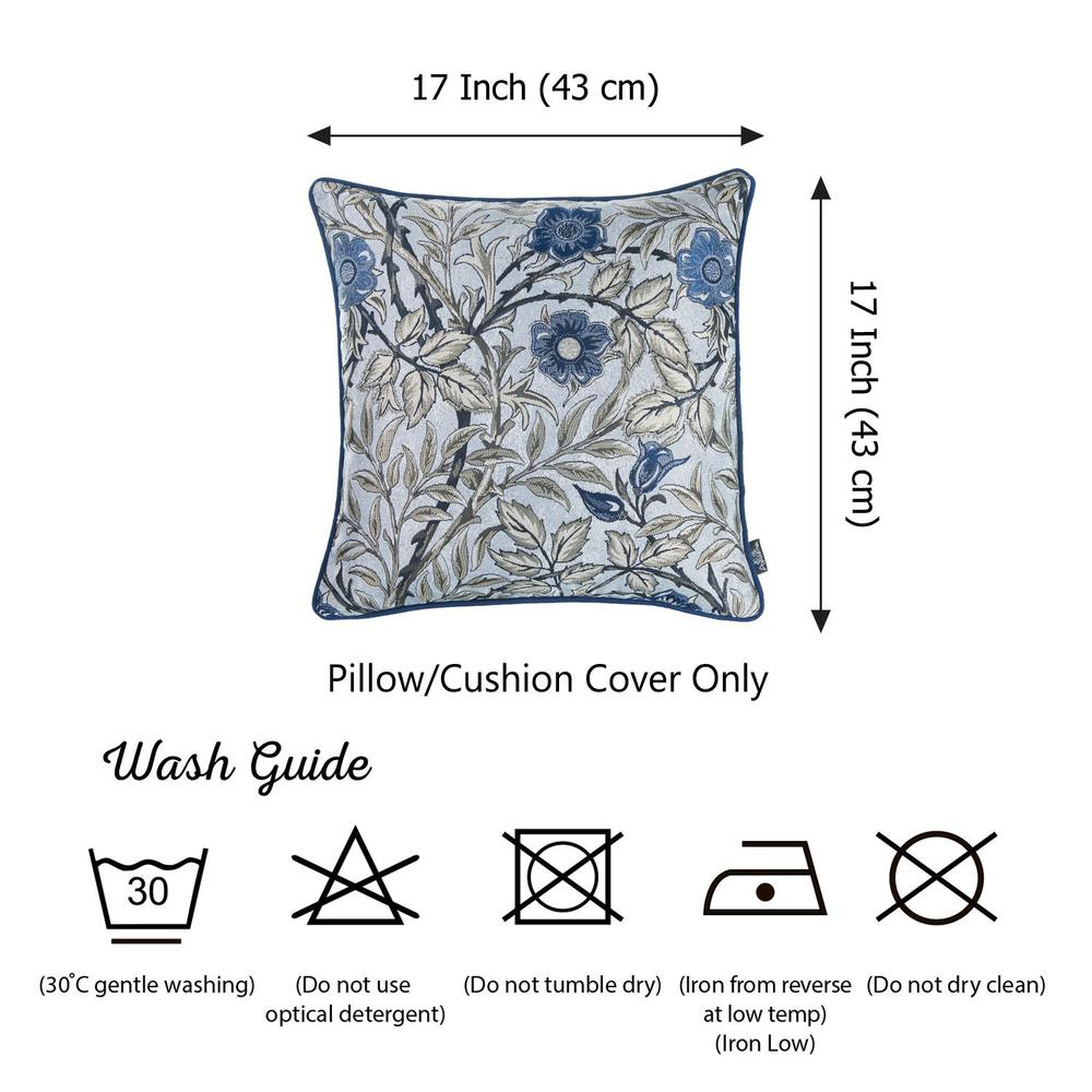 Set of 2 Square Beige Floral Throw Pillow Covers - 376846. Picture 3