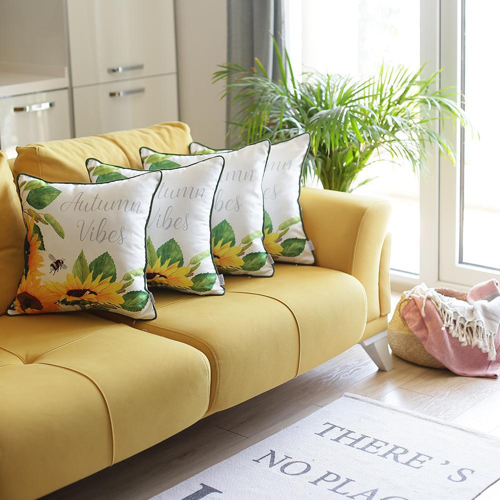 Set of 4 Square Autumn Vibes Sunflower Pillow Covers - 376851. Picture 1