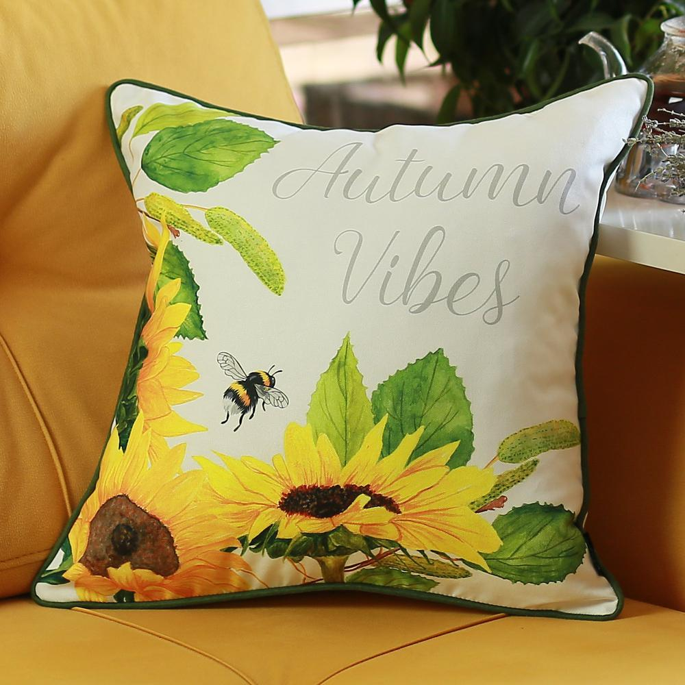 Set of 4 Square Autumn Vibes Sunflower Pillow Covers - 376851. Picture 2