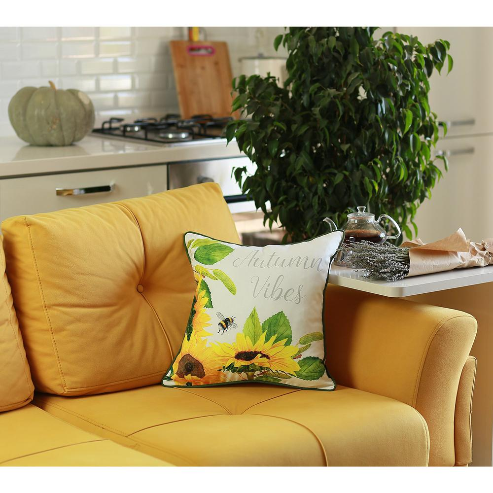 Set of 4 Square Autumn Vibes Sunflower Pillow Covers - 376851. Picture 3