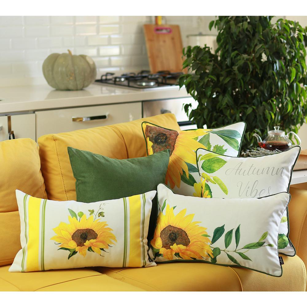 Set of 4 Square Autumn Vibes Sunflower Pillow Covers - 376851. Picture 4