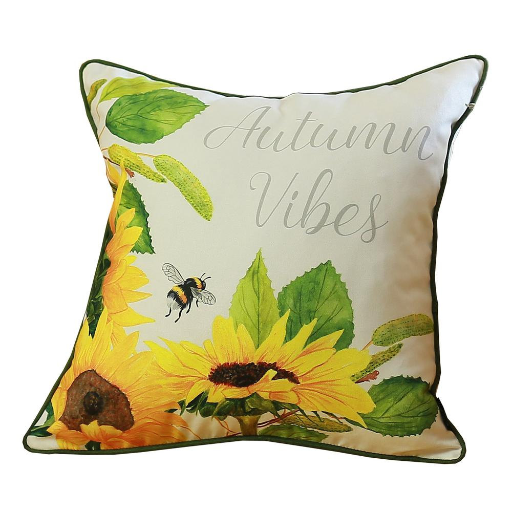 Set of 4 Square Autumn Vibes Sunflower Pillow Covers - 376851. Picture 5