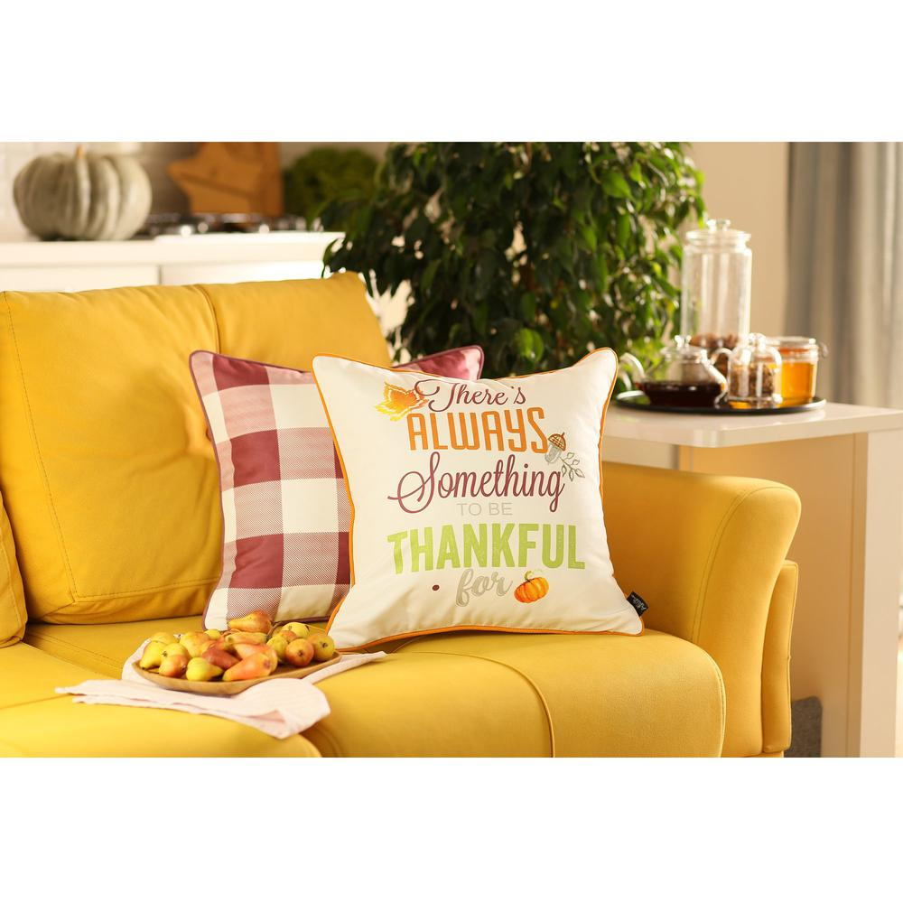 """Set of 4 18"""" Thanksgiving Gingham Throw Pillow Cover in Multicolor - 376863. Picture 1"""