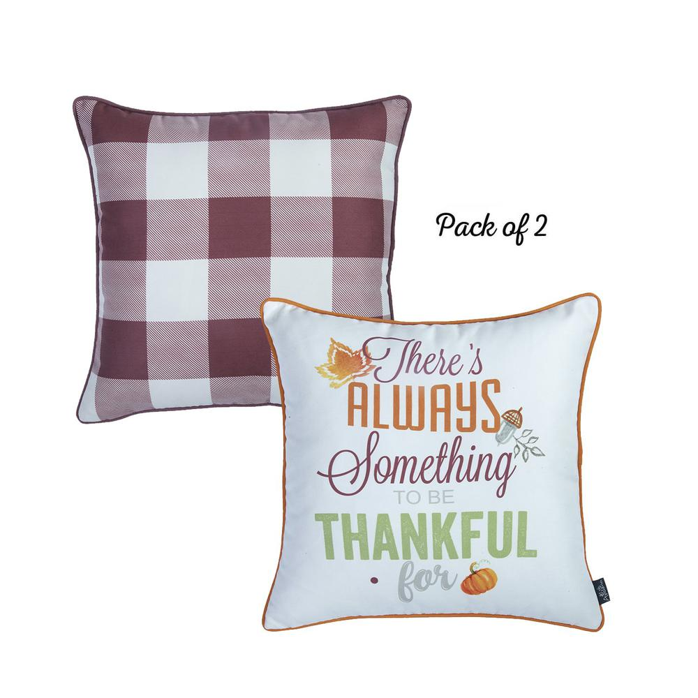 """Set of 4 18"""" Thanksgiving Gingham Throw Pillow Cover in Multicolor - 376863. Picture 2"""