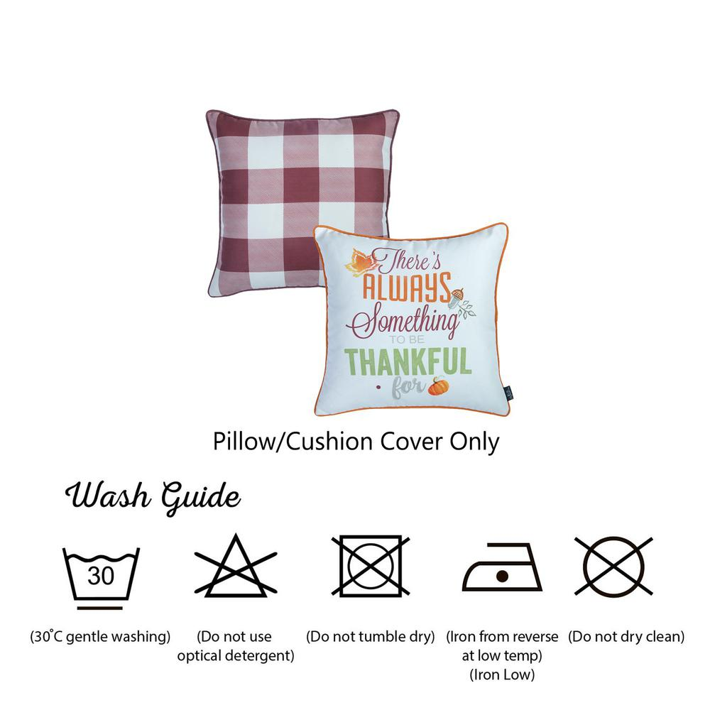 """Set of 4 18"""" Thanksgiving Gingham Throw Pillow Cover in Multicolor - 376863. Picture 6"""