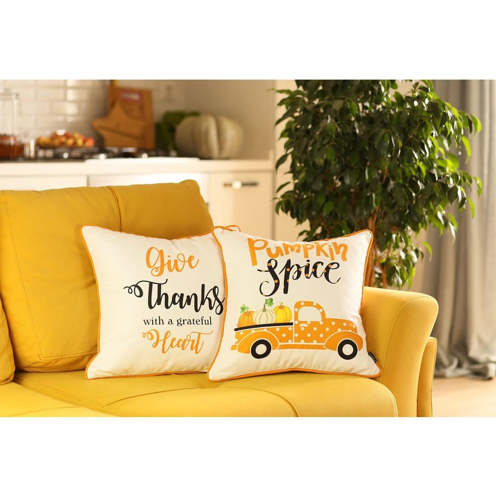 """Set of 4 18"""" Pumpkin Spice Throw Pillow Cover in Multicolor - 376864. Picture 1"""