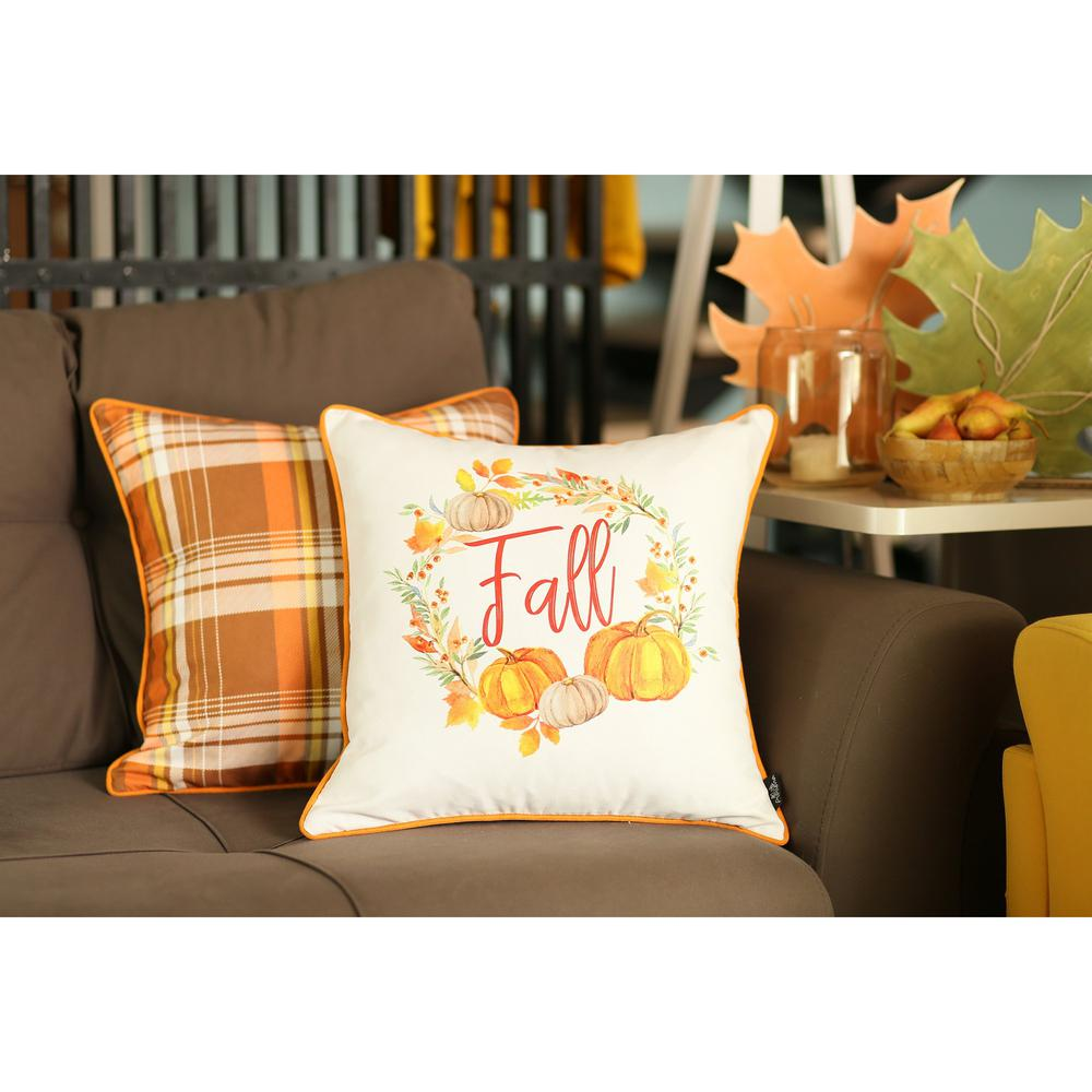 """Set of 4 18"""" Fall Pumpkin Throw Pillow Cover in Multicolor - 376865. Picture 1"""