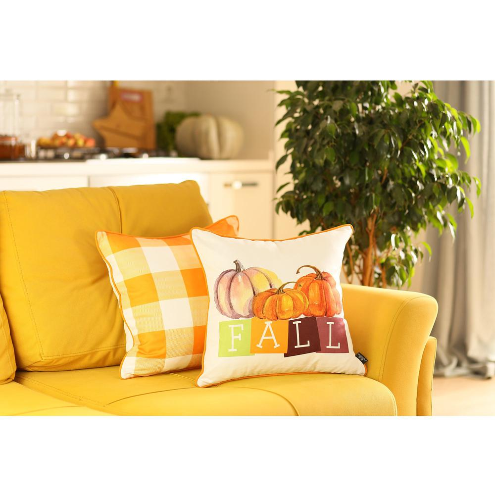 """Set of 4 18"""" Fall Season Pumpkin Throw Pillow Cover in Multicolor - 376866. Picture 1"""