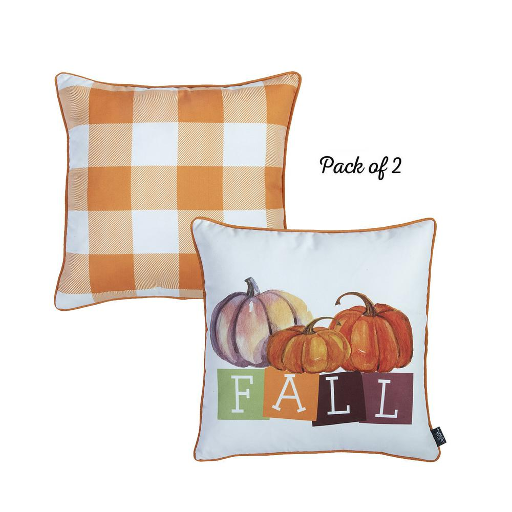 """Set of 4 18"""" Fall Season Pumpkin Throw Pillow Cover in Multicolor - 376866. Picture 2"""