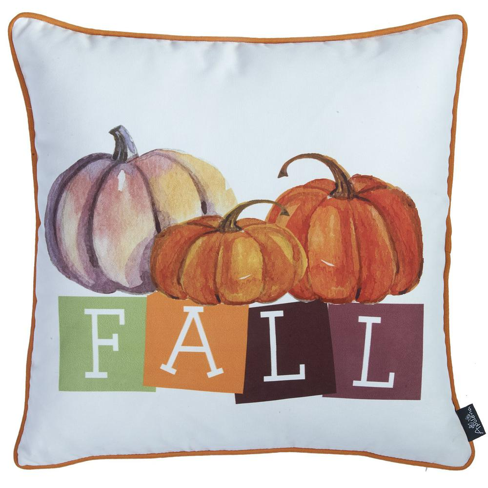 """Set of 4 18"""" Fall Season Pumpkin Throw Pillow Cover in Multicolor - 376866. Picture 4"""