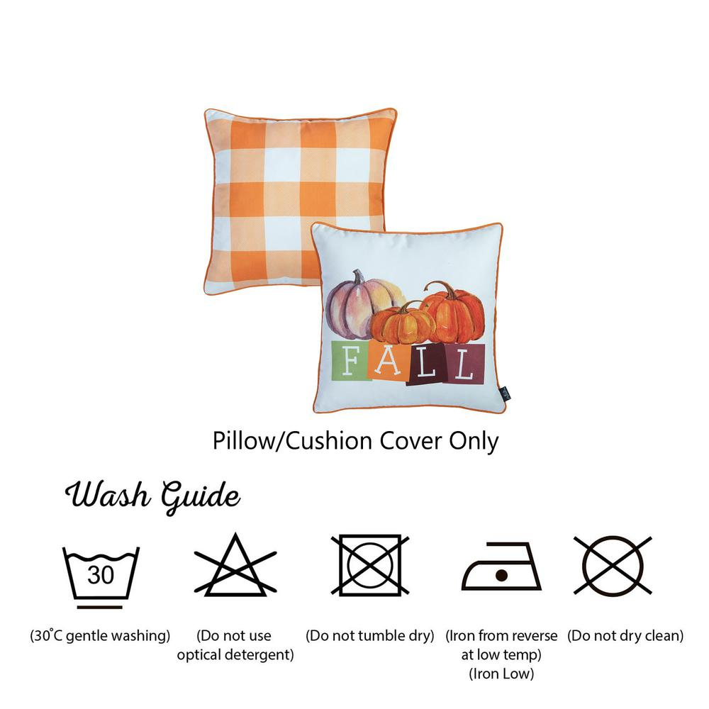"""Set of 4 18"""" Fall Season Pumpkin Throw Pillow Cover in Multicolor - 376866. Picture 6"""
