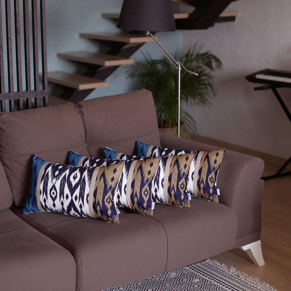 """Set of 4 20"""" Ikat Lumbar Pillow Cover in Beige - 376870. Picture 1"""