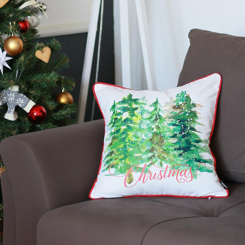"""Set of 2 18"""" Christmas Trees Throw Pillow Cover in Multicolor - 376884. Picture 1"""