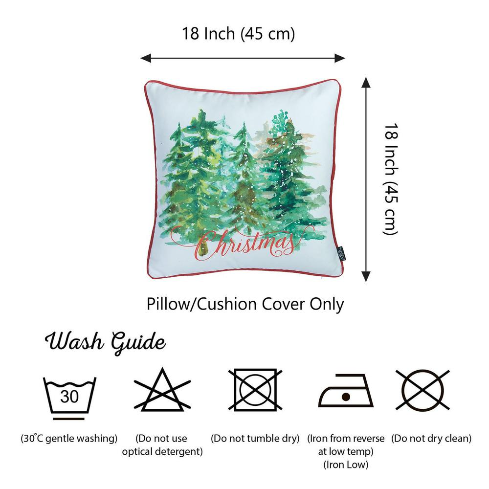 """Set of 2 18"""" Christmas Trees Throw Pillow Cover in Multicolor - 376884. Picture 5"""