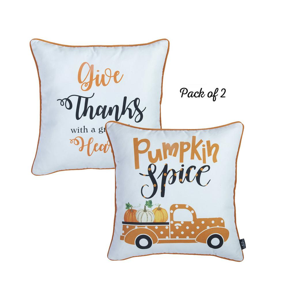 """Set of 2 18"""" Thanksgiving Pumpkin Spice Throw Pillow Cover in Multicolor - 376891. Picture 2"""