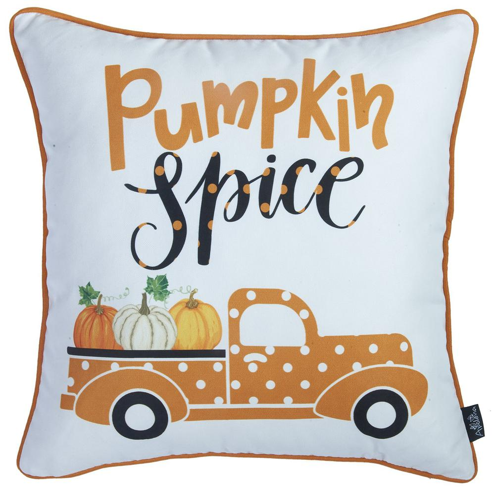 """Set of 2 18"""" Thanksgiving Pumpkin Spice Throw Pillow Cover in Multicolor - 376891. Picture 4"""