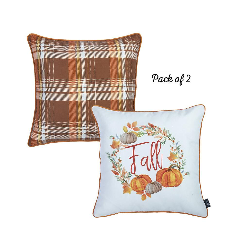 """Set of 2 18"""" Fall Thanksgiving Pumpkin Throw Pillow Cover - 376892. Picture 2"""