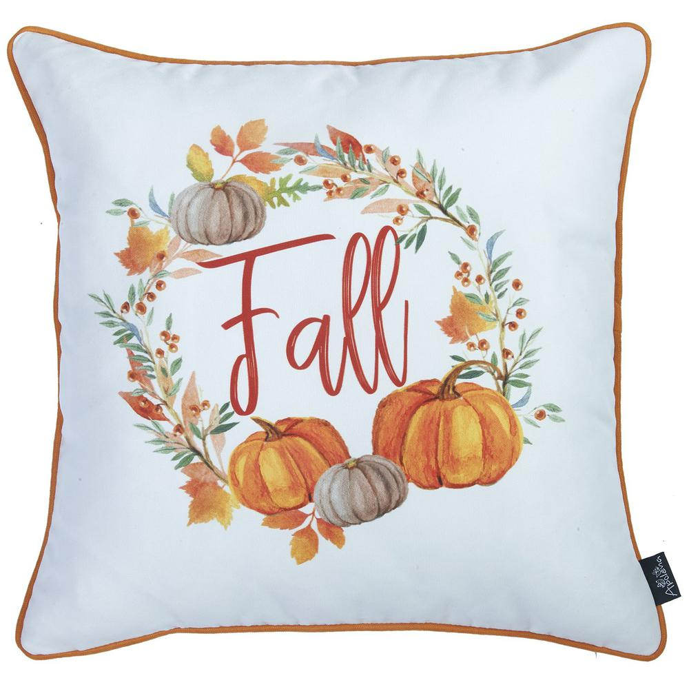 """Set of 2 18"""" Fall Thanksgiving Pumpkin Throw Pillow Cover - 376892. Picture 3"""