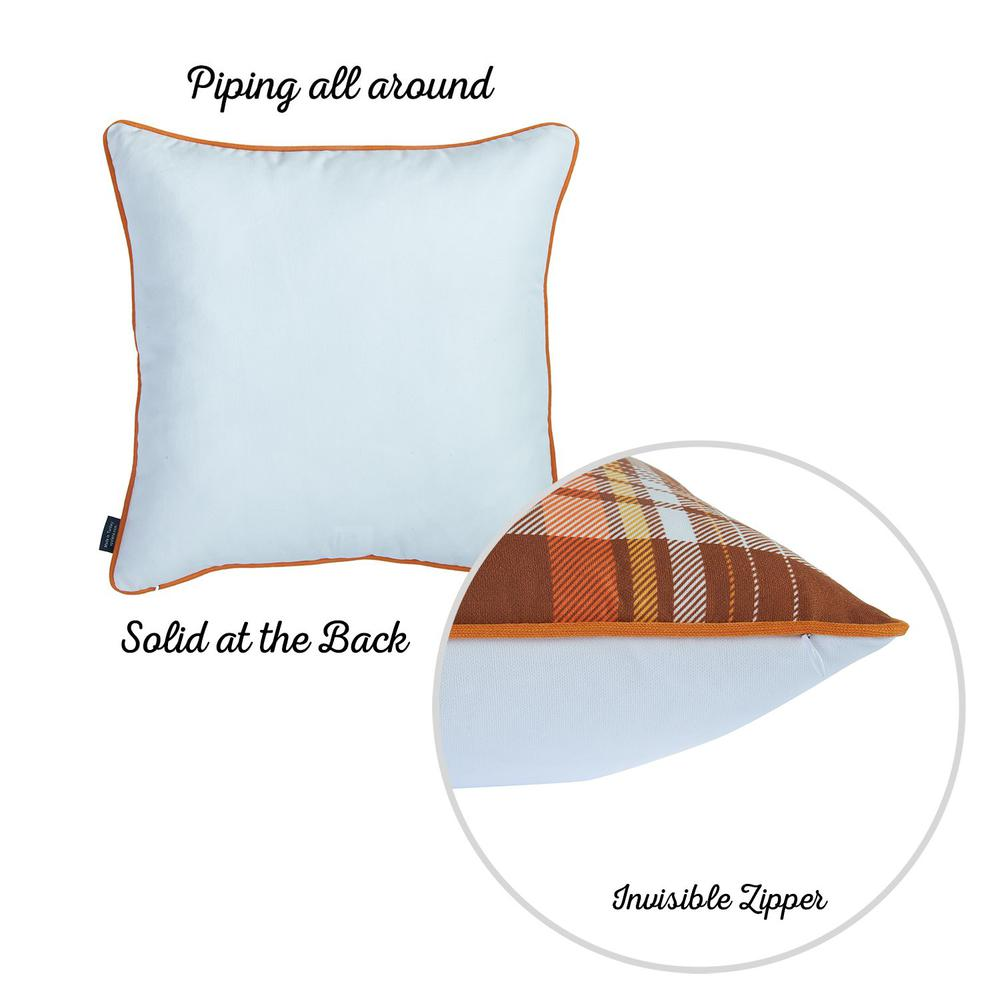 """Set of 2 18"""" Fall Thanksgiving Pumpkin Throw Pillow Cover - 376892. Picture 6"""