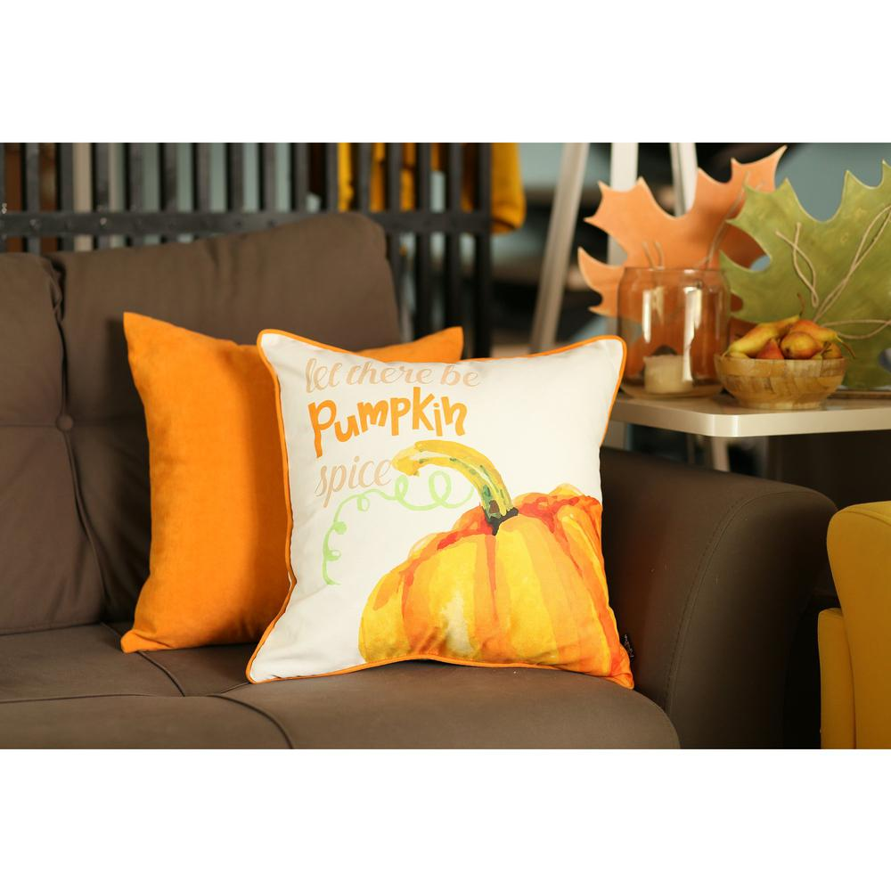 """Set of 2 18""""  Fall Season Pumpkin Pie Throw Pillow Cover in Multicolor - 376894. Picture 1"""