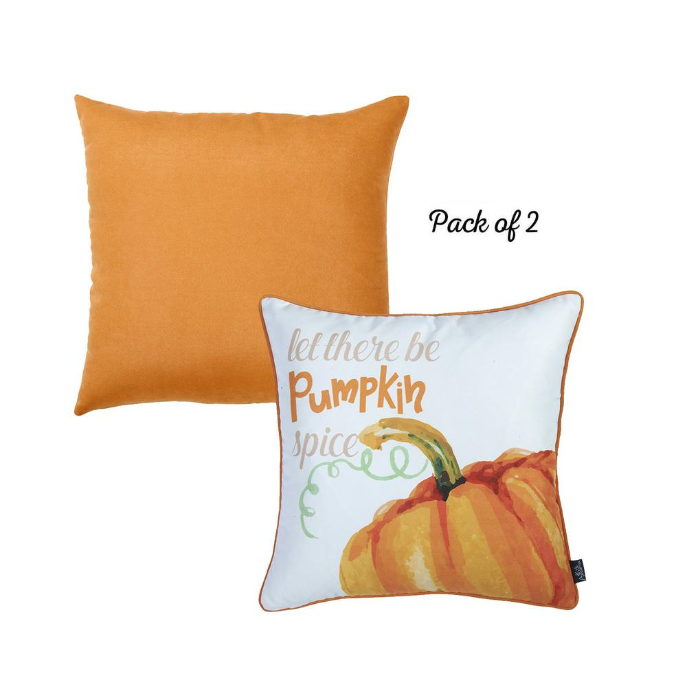 """Set of 2 18""""  Fall Season Pumpkin Pie Throw Pillow Cover in Multicolor - 376894. Picture 2"""
