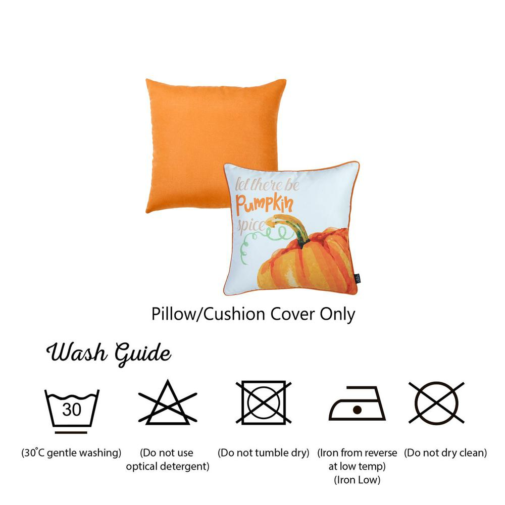 """Set of 2 18""""  Fall Season Pumpkin Pie Throw Pillow Cover in Multicolor - 376894. Picture 6"""