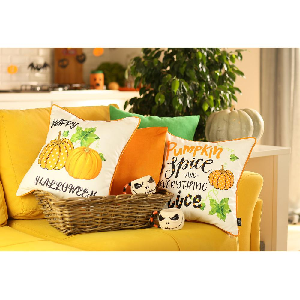 """Set of 4 18"""" Fall Pumpkin Spice Harvest Throw Pillow Cover in Multicolor - 376895. Picture 1"""