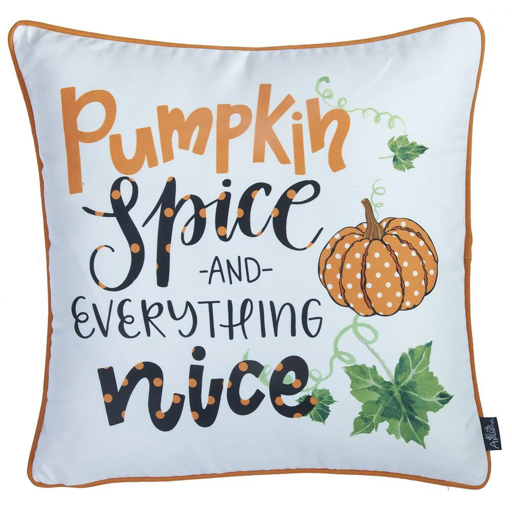 """Set of 4 18"""" Fall Pumpkin Spice Harvest Throw Pillow Cover in Multicolor - 376895. Picture 4"""
