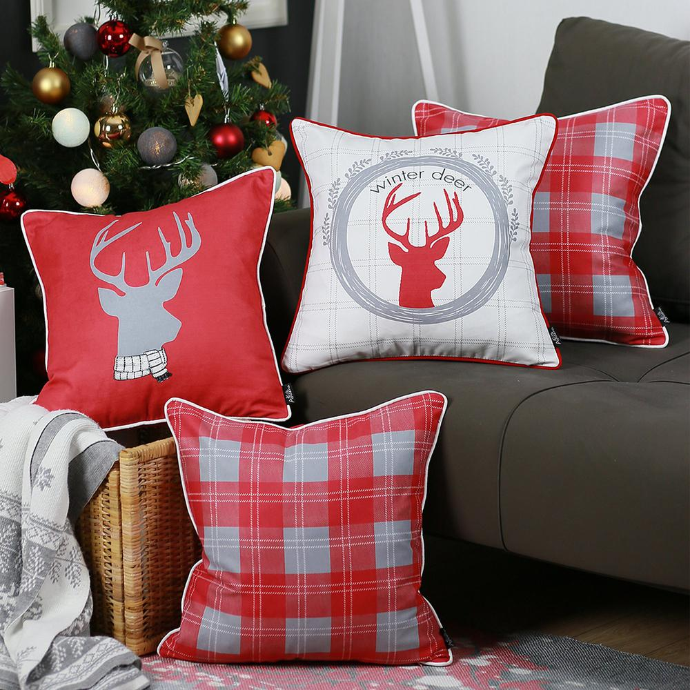 """Set of 4 18"""" Winter Deer Throw Pillow Cover in Multicolor - 376896. Picture 1"""