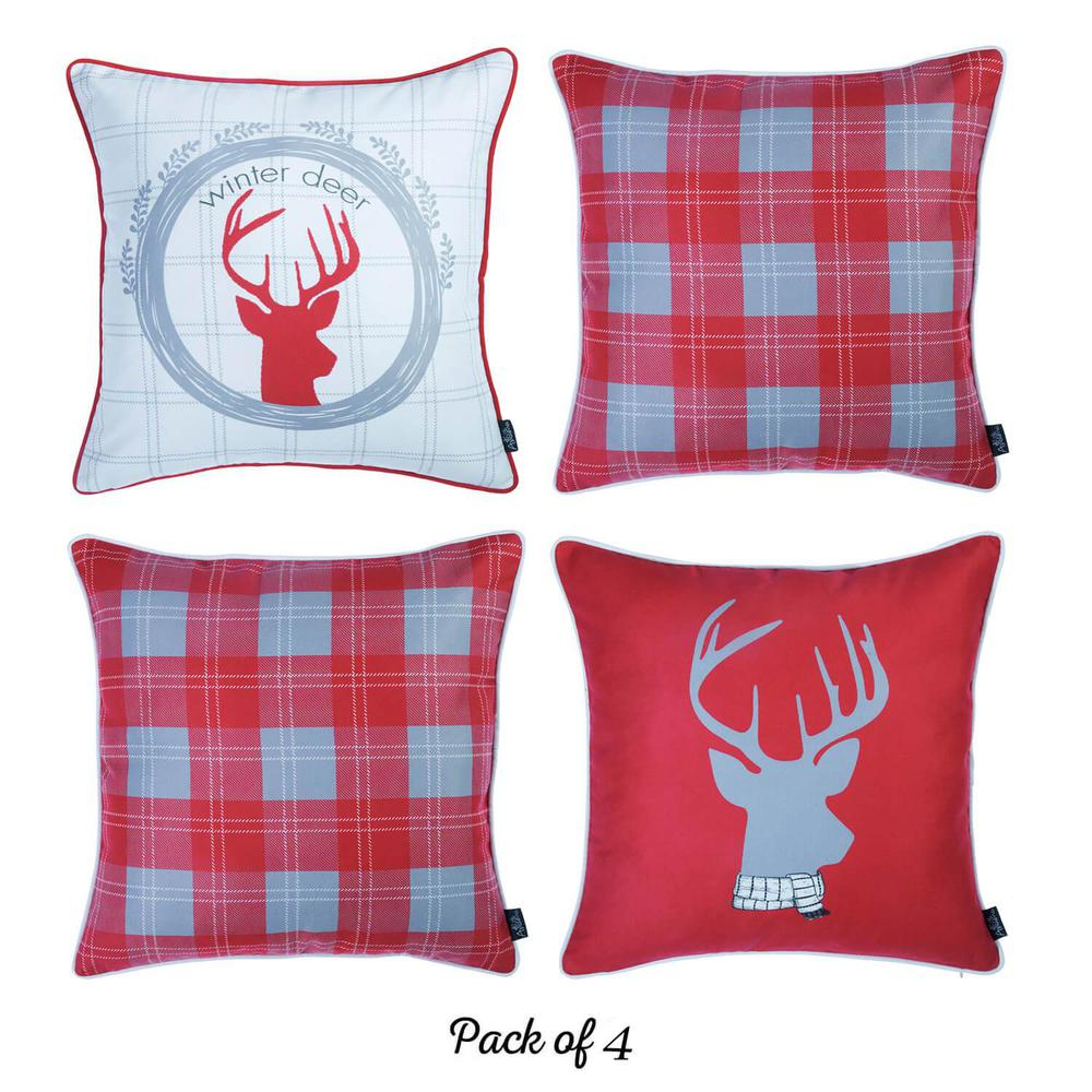 """Set of 4 18"""" Winter Deer Throw Pillow Cover in Multicolor - 376896. Picture 2"""
