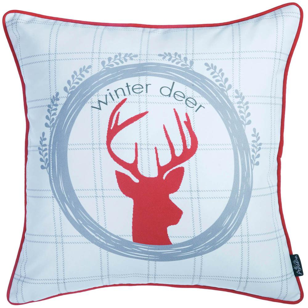 """Set of 4 18"""" Winter Deer Throw Pillow Cover in Multicolor - 376896. Picture 3"""