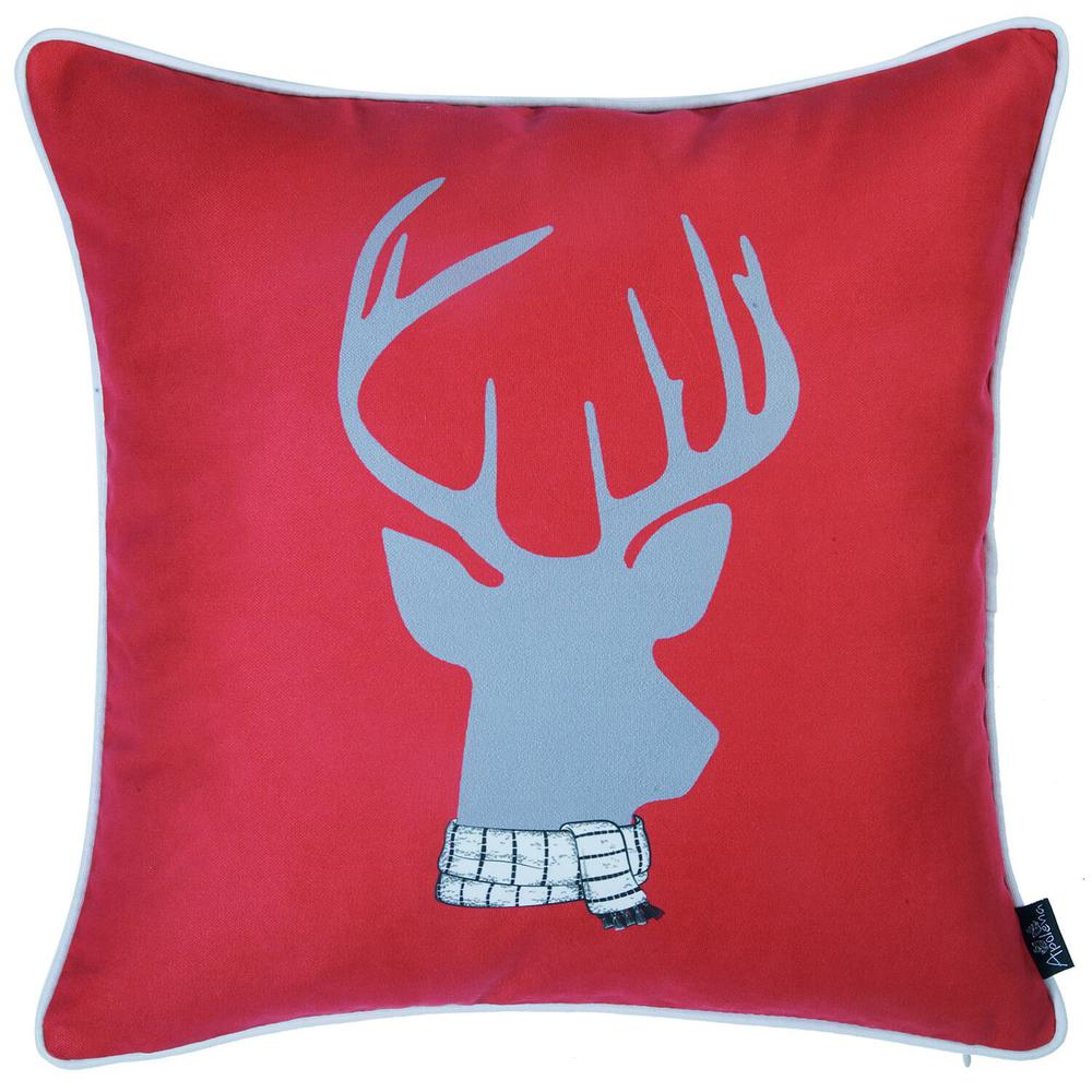 """Set of 4 18"""" Winter Deer Throw Pillow Cover in Multicolor - 376896. Picture 5"""